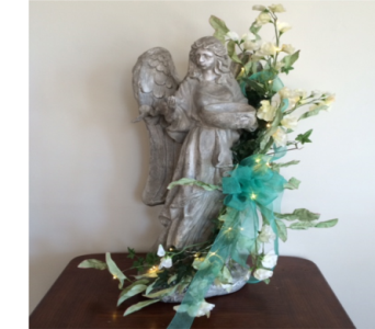 Large Angel with Garland and Lights in Piqua OH, Genell's Flowers