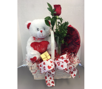 Bear & Bud in a basket in Meriden CT, Rose Flowers & Gifts