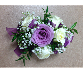 Violets and Snowflakes Wrist Corsage  in Fairless Hills PA, Flowers By Jennie-Lynne