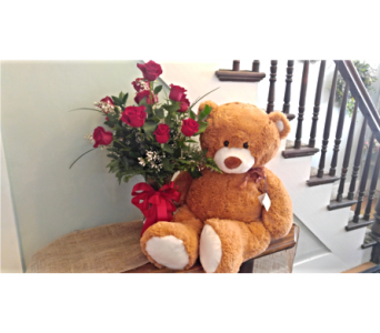 Bear hugs and Roses in Westfield MA, Flowers by Webster