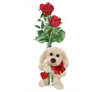 Double Rose Bud Vase with Puppy Hugger in Huntington WV, Archer's Flowers and Gallery