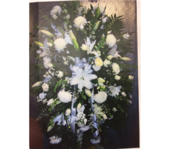 ALL WHITE FUNERAL SPRAY in Port Chester NY, Floral Fashions