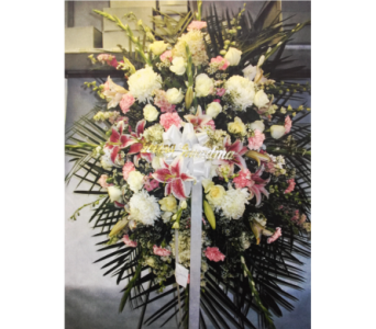 PINK AND WHITE FUNERAL SPRAY in Port Chester NY, Floral Fashions