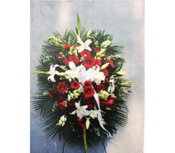 RED AND WHITE FUNERAL SPRAY in Port Chester NY, Floral Fashions