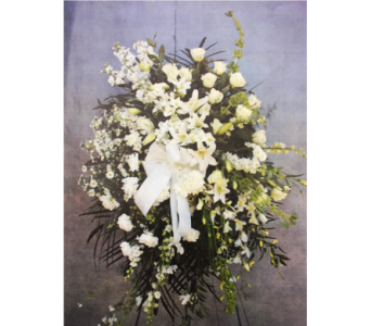 WHITE AND GREEN FUNERAL SPRAY  in Port Chester NY, Floral Fashions