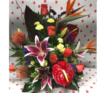 Halina's exotic arrangement in Irvington NJ, Jaeger Florist