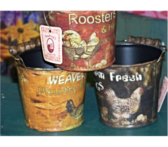 MINI ROOSTER TINS in Claremont NH, Colonial Florist