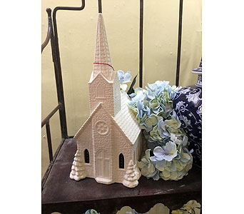 Medium Ceramic Musical/Lit Church; Price in Owensboro KY, Welborn's Floral Company