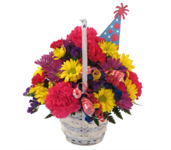 Happy Birthday Party Hat Basket in Southfield MI, Thrifty Florist