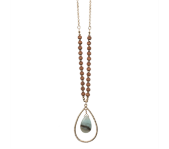 Open Tear Drop Necklace-Jet Amazonite in Virginia Beach VA, Fairfield Flowers