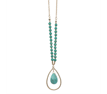 Open Tear Drop Necklace-Turquoise in Virginia Beach VA, Fairfield Flowers