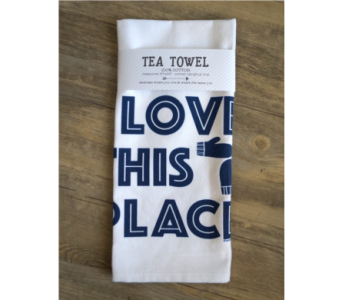 Tea Towel - Love This Place in Muskegon MI, Wasserman's Flower Shop