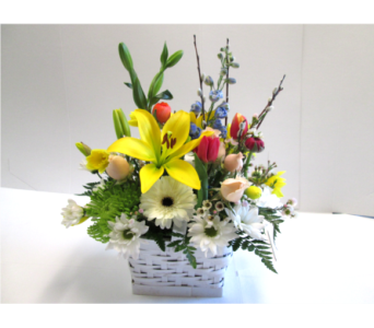 White Spring Basket in Worcester MA, Holmes Shusas Florists, Inc