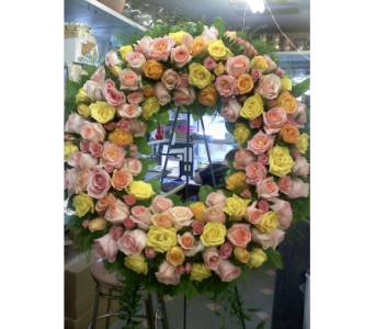 All Rose Pastel Standing Wreath in Port Chester NY, Port Chester Florist