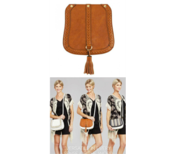 Pursona Bag Flap Cognac Tassel in Virginia Beach VA, Fairfield Flowers