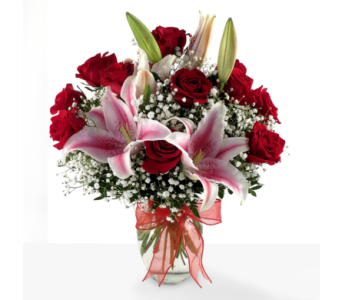 Red Roses and Stargazer Lilies in Southfield MI, Thrifty Florist