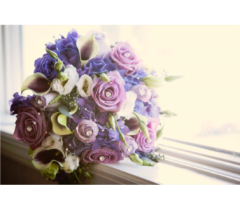 Purple Shades Bridal Bouquet in Somerset NJ, Flower Station