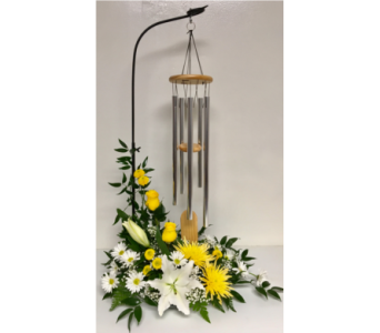 Natural Pine Wind Chime on Stand w/ Fresh Flowers in Wyoming MI, Wyoming Stuyvesant Floral