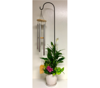 Natural Pine Windchime in Plant Arrangement in Wyoming MI, Wyoming Stuyvesant Floral