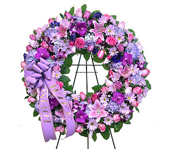Purple & Pink Wreath in Somerset NJ, Flower Station