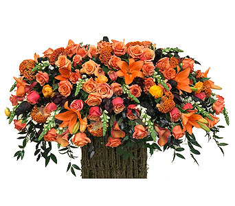 Orange Casket Spray in Somerset NJ, Flower Station