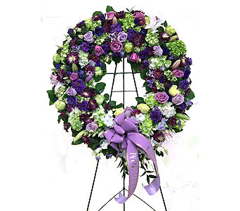 Burgundy, Purple, & Green Wreath in Somerset NJ, Flower Station