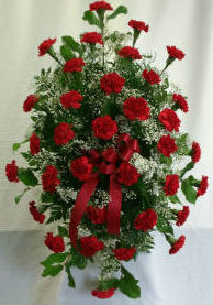 Traditional Red Standing Spray with Baby's Breath in Belleville ON, Barber's Flowers Ltd