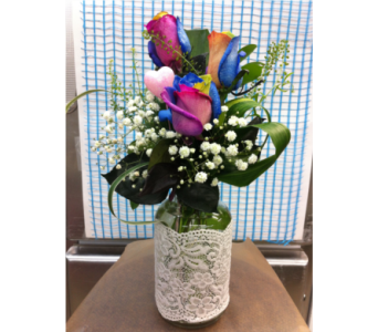 Mom's Rainbow Bouquet in Grand-Sault/Grand Falls NB, Centre Floral de Grand-Sault Ltee