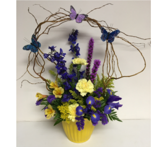 Willow Bow of Butterflies Fresh Arrangement-Yellow in Wyoming MI, Wyoming Stuyvesant Floral