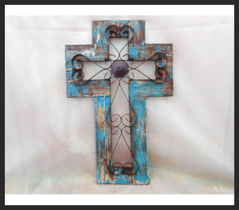 Small Turquoise Cross in Tyler TX, The Flower Box