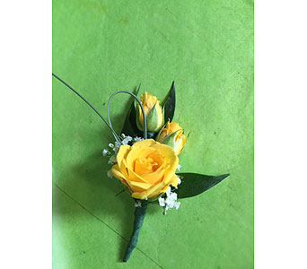 Yellow Spray Rose Boutonniere in Fredericton NB, Trites Flower Shop