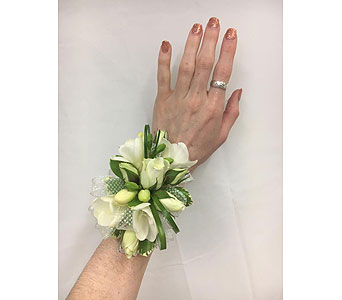 Freesia & Spray Rose Corsage in Somerset NJ, Flower Station