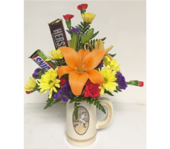 Baseball Stein with Fresh Flowers and Candy in Wyoming MI, Wyoming Stuyvesant Floral