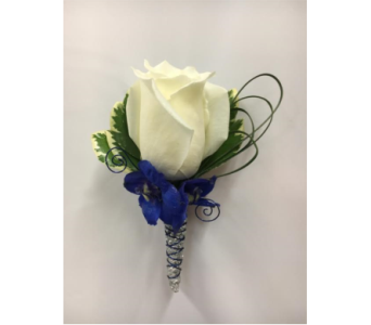 White Rose Boutonni�re  in Somerset NJ, Flower Station