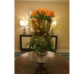 Hydrangea, Oncidium Orchid, & Alstro Lobby Design in Somerset NJ, Flower Station