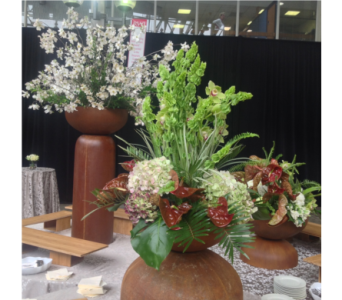 Antherium, Orchid, & Hydrangea Centerpiece in Somerset NJ, Flower Station
