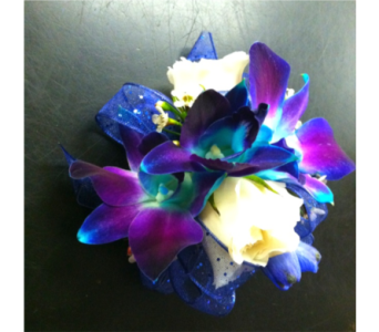 tealblue/purple orchid &white tearose wristlet in Pottstown PA, Pottstown Florist