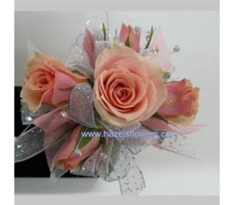 peach tea rose wristlet in Pottstown PA, Pottstown Florist