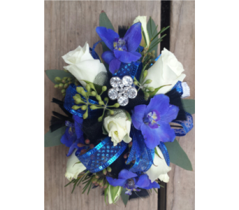 blue and white wristlet in Pottstown PA, Pottstown Florist