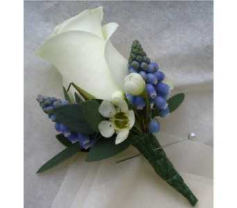 blue and white bouttoniere in Pottstown PA, Pottstown Florist