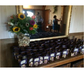 Rustic Sunflower Place Card Table in Somerset NJ, Flower Station