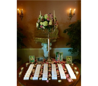 Lily, Hydrangea, & Rose Place Card Table in Somerset NJ, Flower Station