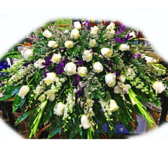 Roses Among the Orchids Casket Spray in Lake Charles LA, A Daisy A Day Flowers & Gifts, Inc.