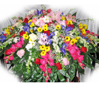 Heaven's Meadow Casket Spray in Lake Charles LA, A Daisy A Day Flowers & Gifts, Inc.