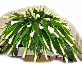 Calla Lily Casket Spray in Lake Charles LA, A Daisy A Day Flowers & Gifts, Inc.
