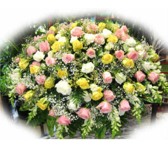 Cloud of Roses Casket Spray in Lake Charles LA, A Daisy A Day Flowers & Gifts, Inc.