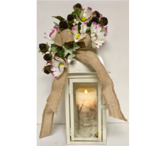 Summer Motif Lantern with Memorial Candle in Wyoming MI, Wyoming Stuyvesant Floral