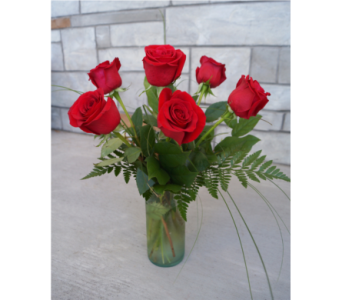 Classic Half Dozen Roses in Muskegon MI, Wasserman's Flower Shop
