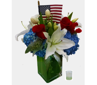 Red, white and blue blooms in Santa Monica CA, Edelweiss Flower Boutique