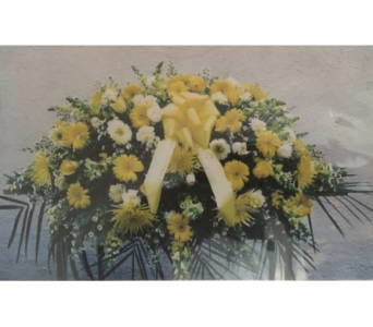 Graceful Yellow Casket Spray in Port Chester NY, Port Chester Florist